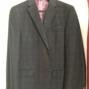 "MEN""S SEAN JOHN 3 PIECE BLACK WINDOW PANE SUIT 42L"